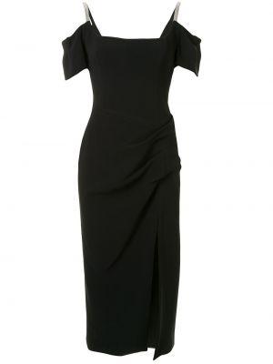Черное тонкое платье миди с открытой спиной на молнии Manning Cartell
