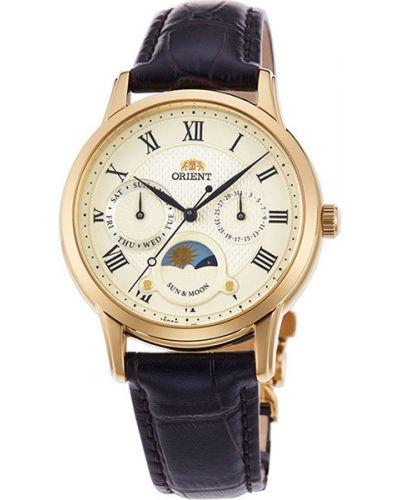Кварцевые часы на кожаном ремешке водонепроницаемые Orient