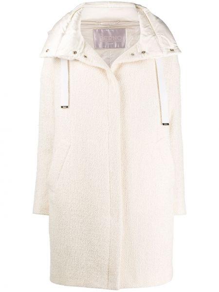 Однобортное бежевое длинное пальто из альпаки с карманами Herno
