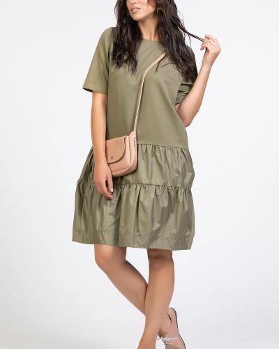 С рукавами зеленое платье с оборками прима линия