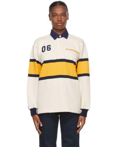 Żółty koszulka polo z haftem z długimi rękawami z mankietami Saintwoods