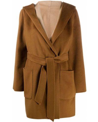 Коричневый шерстяной пальто классическое с капюшоном Max Mara Studio