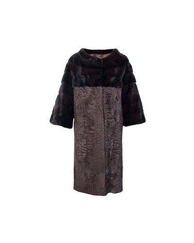 Зимнее пальто из каракульчи норковое Bellini