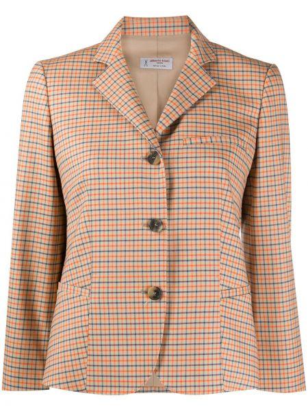 Шерстяной удлиненный пиджак в клетку с воротником Alberto Biani