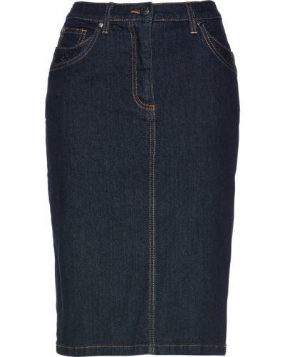Джинсовая юбка со стразами темно-синий Bonprix