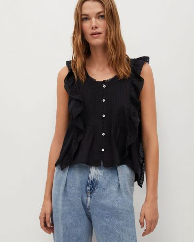 Czarna bluzka z falbanami bawełniana Mango