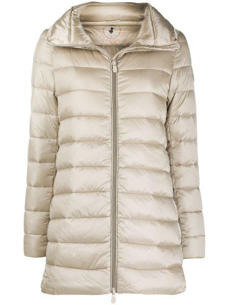 Бежевое длинное пальто с воротником с карманами Save The Duck