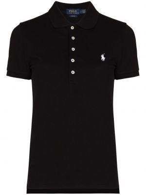 Хлопковая с рукавами черная классическая рубашка Polo Ralph Lauren