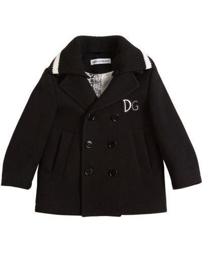 Czarny płaszcz wełniany Dolce And Gabbana