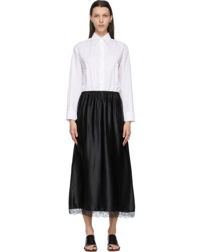 Sukienka koronkowa z długimi rękawami - biała Mm6 Maison Margiela