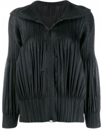 Прямая черная длинная куртка Pleats Please By Issey Miyake