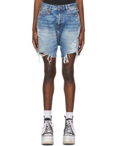 Черные кожаные джинсовые шорты с карманами R13