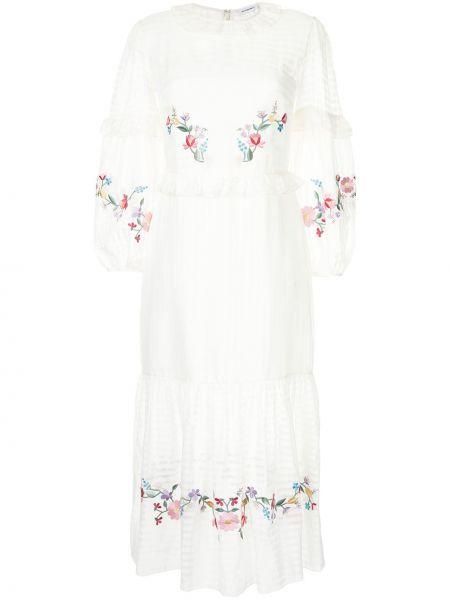 Шелковое платье макси - белое Vilshenko