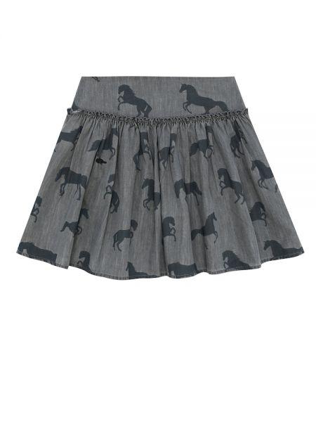 Свободная хлопковая расклешенная юбка мини Stella Mccartney Kids