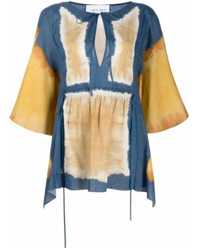 Tunika z printem - niebieska Alberta Ferretti