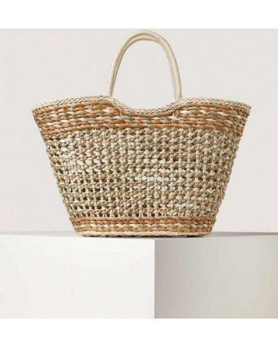 Коричневая соломенная пляжная сумка Oysho