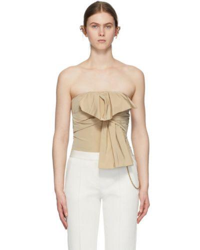 Beżowy bawełna bawełna top prążkowany Givenchy