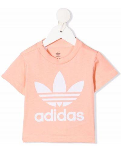 Прямая хлопковая футболка с вырезом Adidas Kids