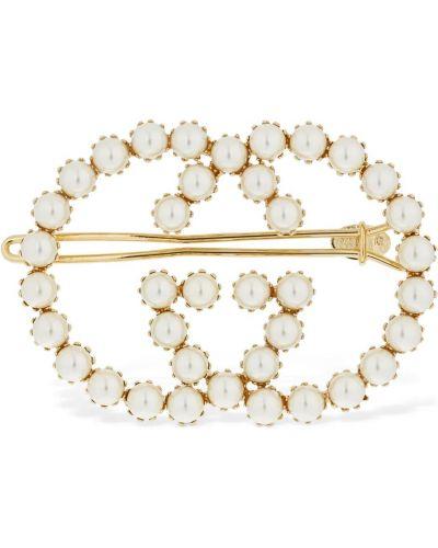Spinka do włosów złoto z perłami Gucci