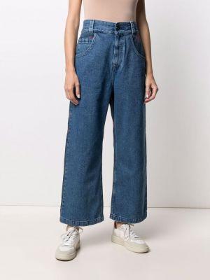 Синие с завышенной талией укороченные джинсы с карманами Opening Ceremony