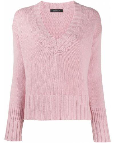 Кашемировый тонкий розовый вязаный джемпер с V-образным вырезом Aragona