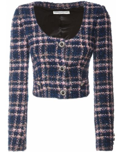 Синяя укороченная куртка с подкладкой Alessandra Rich