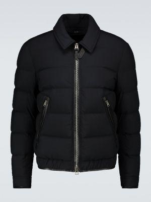 Черная кожаная куртка с перьями Tom Ford