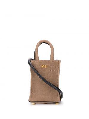 Z paskiem brązowy torba na zakupy z prawdziwej skóry z ozdobnym wykończeniem N°21