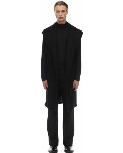 Czarny płaszcz wełniany bez rękawów Saldarini