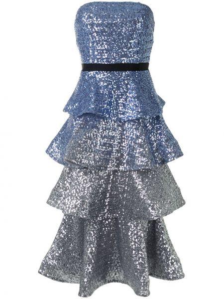 Синее платье без бретелек Marchesa Notte