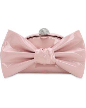 Różowa kopertówka skórzana klamry Alessandra Rich