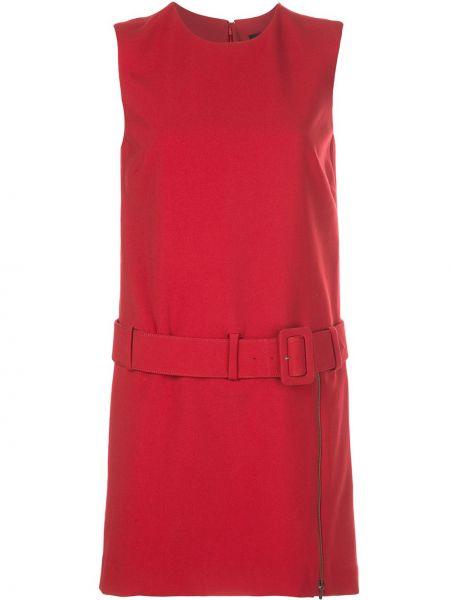 Платье с поясом на молнии красный Nicole Miller