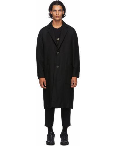 Czarny długi płaszcz wełniany z raglanowymi rękawami Song For The Mute