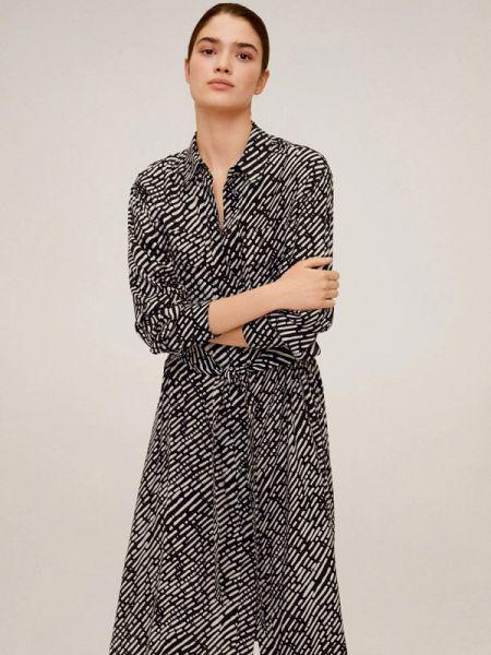 Платье платье-рубашка черное Mango