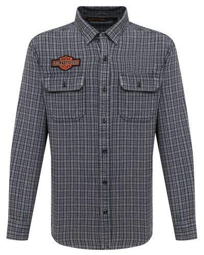 Хлопковая синяя приталенная рубашка с длинным рукавом Harley Davidson
