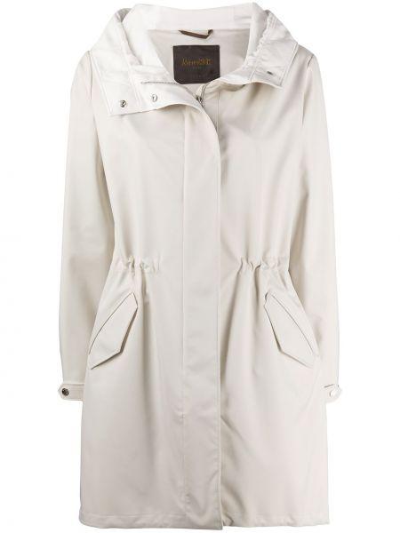 С рукавами пальто с капюшоном айвори на молнии с карманами Moorer
