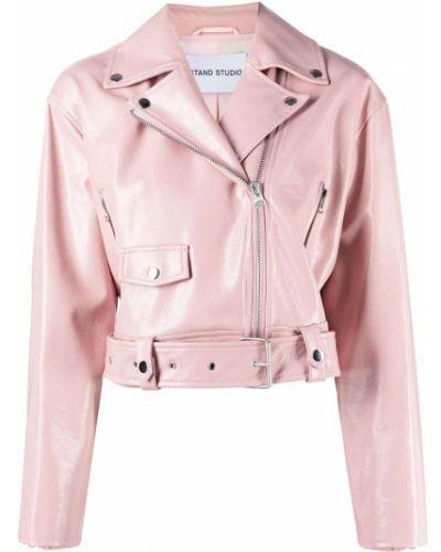 Кожаная куртка на молнии - розовая Stand Studio
