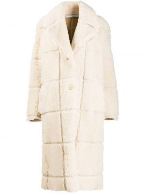 Белое свободное спортивное кожаное пальто на пуговицах Off-white