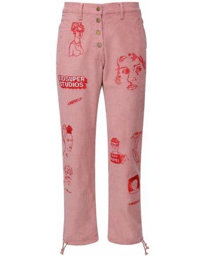 Różowe spodnie sztruksowe z haftem Kidsuper Studios