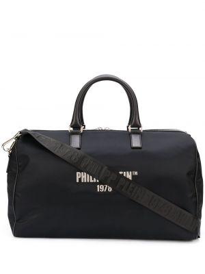 Czarny bawełna z paskiem nylon torba na ramieniu Philipp Plein