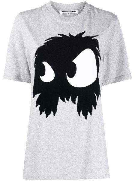 Хлопковая серая футболка с круглым вырезом круглая Mcq Alexander Mcqueen