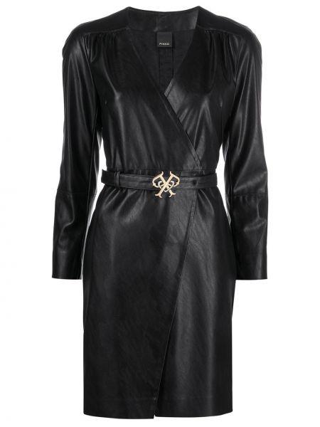 Черное платье мини с запахом с поясом Pinko