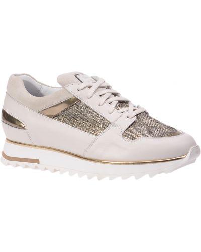 Кожаные кроссовки - бежевые Santoni