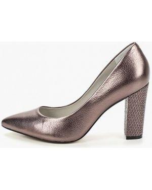 Туфли на каблуке кожаные серые Indiana