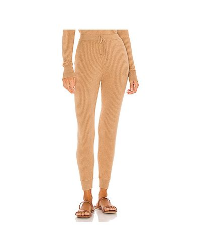Кожаные брюки в рубчик с карманами на шнурках Skin