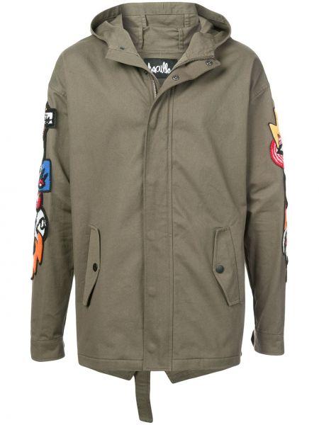 Зеленое прямое длинное пальто на кнопках с карманами Haculla