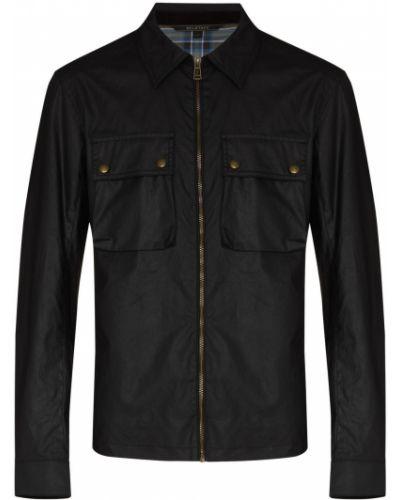 Klasyczna czarna długa kurtka bawełniana Belstaff