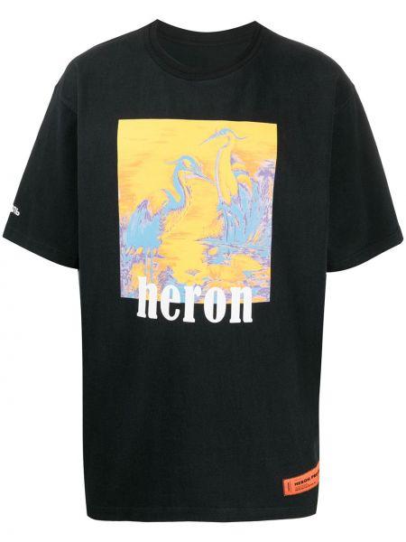 Bawełna z rękawami czarny koszula z łatami Heron Preston