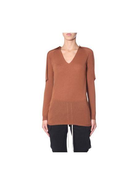 Sweter z dekoltem w serek - brązowy Rick Owens