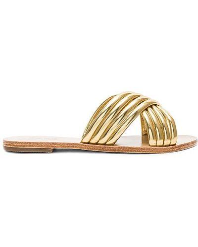 Złote sandały na obcasie Raye